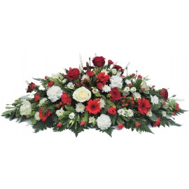 Florists Choice Red and White double ended casket spray